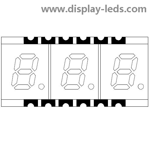 0.2 Inch Three Digit 7 Segment SMD Display