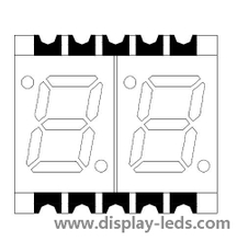 0.28 Inch Dual Digit 7 Segment SMD Display